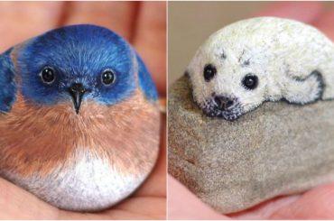 Umelkyňa prebúdza k životu kamene, na ktoré maľuje zvieratá. Ich pohľady sú ako živé!